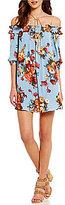 Blu Pepper Floral-Printed Off-The-Shoulder Woven Shift Dress