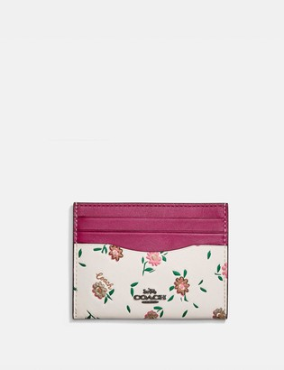 Coach Card Case With Blocked Floral Print