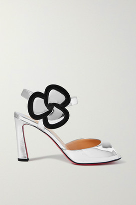 Christian Louboutin Pansy 85 Suede-trimmed Metallic Leather Sandals - Silver