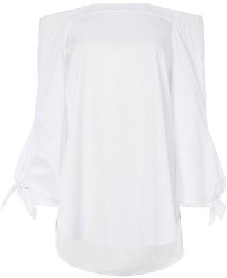 Tibi Satin Poplin Off The Shoulder Tunic in White