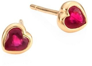 Anita Ko 18k Rose Gold Ruby Bezeled Heart Studs
