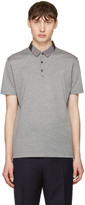 Lanvin Grey Grosgrain Collar Polo