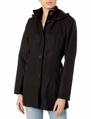 Kensie Women's Button Up Wool Jacket with Knit Collar and Fully Removable Hood