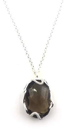 Ippolita Sterling Silver Cherish Large Diamond Bezel Smokey Quartz Pendant Necklace