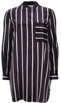 Women's Stripe Loose Silk Shirt Dress Multi