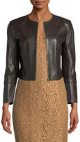 Michael Kors Collarless Lamb Leather Jacket