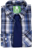 Future Trillionaire Plaid Long Sleeve Shirt & Solid Bow Tie (Toddler, Little Boys, & Big Boys)