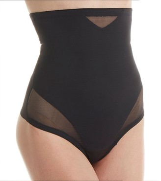 Miraclesuit Women's String Taille Haute Noir-Sexy Sheer Shaping Thigh Shapewear