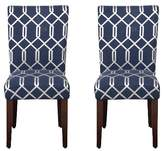 HomePop Parson Dining Chair Wood/Navy Lattice (Set of 2)