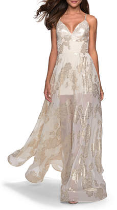 La Femme V-Neck Sleeveless Sheer Romper-Style Gown with Metallic Floral Detail