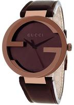 Gucci YA133207 Men's G-Interlocking Brown Leather Watch