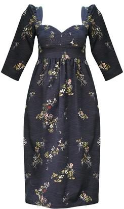 Onīrik Violet Dress With Sweetheart Neckline In Plum Floral Cotton