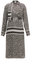 Bottega Veneta Patterned Drape-neck Silk-twill Wrap Dress - Womens - Black White
