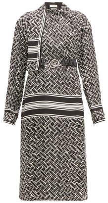 Bottega Veneta Patterned Drape-neck Silk-twill Wrap Dress - Womens - Black White