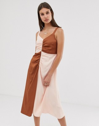 ASOS panel contrast solid strappy dress