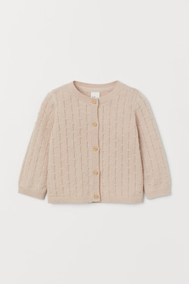 H&M Pattern-knit Cotton Cardigan - Beige
