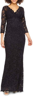 BLU SAG HairE Blu Sage 3/4 Sleeve Lace Evening Gown