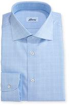 Brioni Plaid Dress Shirt, Light Blue