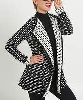August Silk Black & White Geometric Double-Knit Open Cardigan