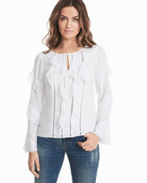 White House Black Market White Ruffle Sleeve Blouse