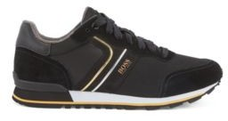 HUGO BOSS Running Style Trainers With Suede And Mesh - Black