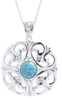 FINE JEWELRY Womens Enhanced Blue Turquoise Sterling Silver Pendant Necklace