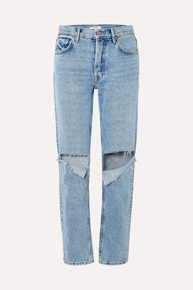 GRLFRND Helena Distressed Mid-rise Straight-leg Jeans - Mid denim