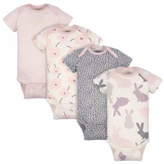 Gerber Baby Girl Bunny Short Sleeve Onesies Bodysuits, 4pk