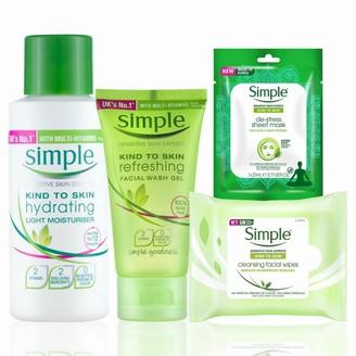 Simple Kind To Skin Bundle Of Wipes X 25, Gel Wash X 50Ml, Light Moisturiser X 50Ml & Mask X 1