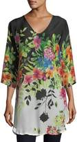 Johnny Was Betty Floral-Print V-Neck Top, Petite