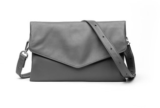 Holly & Tanager Explorer Leather Crossbody Clutch In Grey