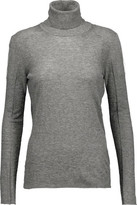 Belstaff Kagan Tulle-Paneled Fine-Knit Turtleneck Sweater