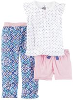 Carter's Girls 4-14 Polka-Dot Tee, Shorts & Patterned Bottoms Pajama Set