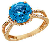 Lord & Taylor Blue Topaz Diamond and 14K Yellow Gold Ring