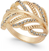 INC International Concepts Gold-Tone Crystal Leaf Ring, Only at Macy's