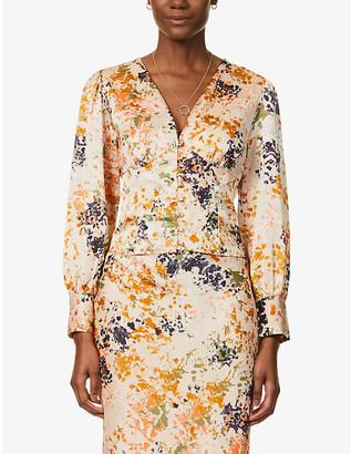 NEVER FULLY DRESSED Bloom Lindos satin-crepe blouse