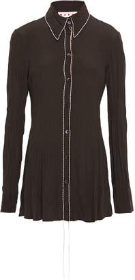 Marni Embroidered Crinkled Crepe De Chine Shirt