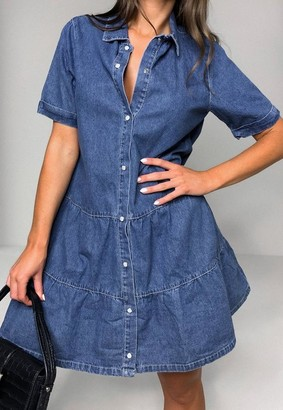 Missguided Blue Tiered Denim Smock Dress
