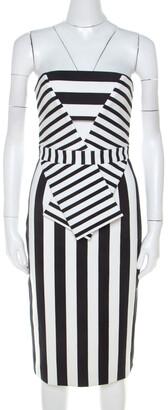 Cushnie Black and White Striped Neoprene Strapless Dress XS