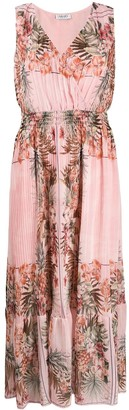 Liu Jo Pleated Floral Print Maxi Dress