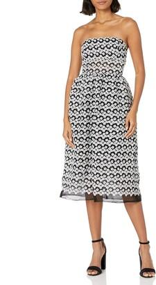 ABS by Allen Schwartz Women's Strapless Cocktail Dress Black/Ivory 4