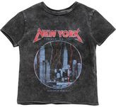 River Island Mini boys grey acid wash NY print T-shirt
