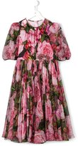 Dolce & Gabbana rose print dress - kids - Silk/Polyester/Viscose - 10 yrs