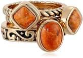 "Barse Glisten"" Bronze Lapis Stack Ring, Size 6"