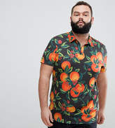 Asos Design ASOS DESIGN Plus polo with all over floral fruit print and revere collar