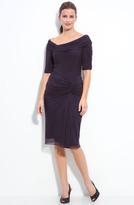 Tadashi Shoji Asymmetrical Ruched Mesh Dress
