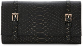 Urban Expressions Black Michelle Snake-Embossed Flap Wallet