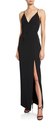 WAYF The Maisle Plunge-Neck Column Gown with Slit
