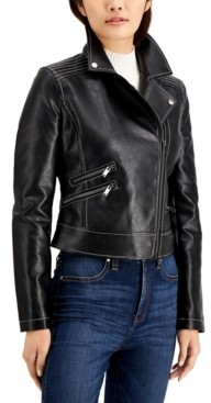 Coffee Shop CoffeeShop Juniors' Faux-Leather Moto Jacket
