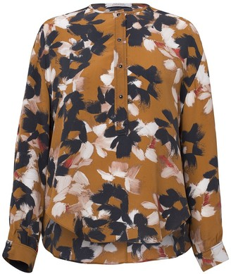 Dorothee Schumacher Floral Graphics Blouse in Caramel Flowers on Black